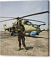 An Afghan Army Soldier Guards A Couple Canvas Print