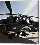 An Ah-64d Apache Helicopter Parked Canvas Print