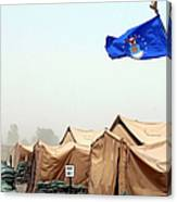 An Air Force Flag In Tent City Waves Canvas Print