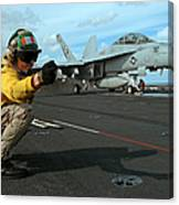 An Airman Gives The Signal To Launch An Canvas Print