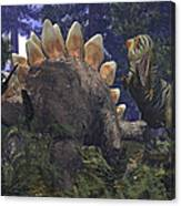 An Allosaurus Stumbles Upon A Grazing Canvas Print