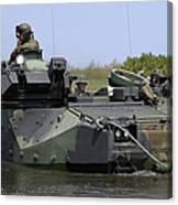 An Amphibious Assault Vehicle Enters Canvas Print