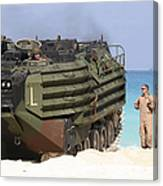 An Amphibious Assault Vehicle Is Guided Canvas Print
