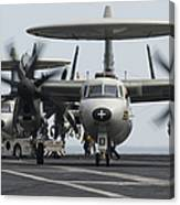 An E-2c Hawkeye Aircraft On The Flight Canvas Print