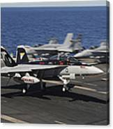 An Ea-18g Growler Lands Aboard Uss Canvas Print