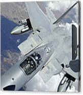 An F-15 Eagle Pulls Away From A Kc-135 Canvas Print