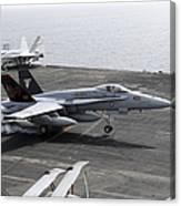 An Fa-18a+ Hornet Lands Aboard Canvas Print