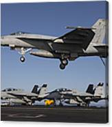 An Fa-18e Super Hornet Comes In For An Canvas Print