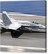 An Fa-18e Super Hornet Lands Aboard Uss Canvas Print