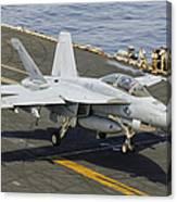 An Fa-18e Super Hornet Trap Landing Canvas Print