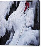 An Ice Climber On Habeggers Falls Canvas Print