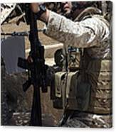 An Infantryman Talks To His Marines Canvas Print