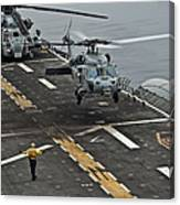 An Mh-60s Sea Hawk Lands Aboard Canvas Print