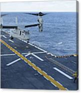 An Mv-22 Osprey Lands Aboard Canvas Print