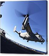 An Mv-22 Osprey Lands Aboard The Uss Canvas Print