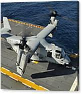 An Mv-22 Osprey Lands Aboard Uss Canvas Print