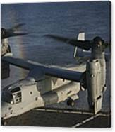 An Mv-22 Osprey Prepares To Land Aboard Canvas Print