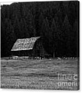 An Old Barn In Black And White Canvas Print