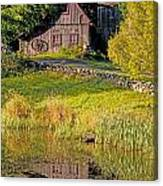 An Old Barn Reflected In The Pond Water Canvas Print