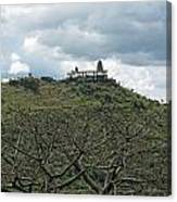 An Old Temple Building On Top Of A Hill With A Lot Of Clouds In The Sky Canvas Print