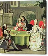 An Ornamental Garden With Elegant Figures Seated Around A Card Table Canvas Print
