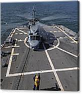 An Sh-60b Sea Hawk Lands On The Flight Canvas Print