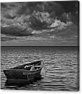 Anchored Row Boat Looking Out To Sea Canvas Print