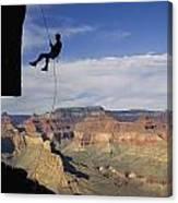 Andy Marquardt Rappels Down A Cliff Canvas Print