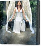 Angel On Stone Bench Looking Up Into The Light Canvas Print