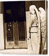 Angel Outside Cemetery Mausoleum Door Canvas Print