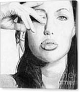 Angelina Jolie Pencil Art Canvas Print