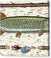 Antique Birch Pike And Lure Canvas Print