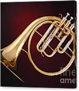Antique French Horn On Deep Red Canvas Print