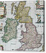 Antique Map Of Britain Canvas Print