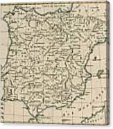 Antique Map Of Spain Canvas Print