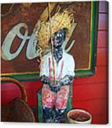 Antique Plaster Black Child Fisherman With Coca Cola Background Canvas Print