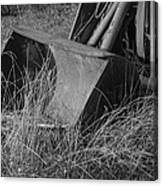 Antique Tractor Bucket In Black And White Canvas Print