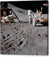 Apollo 15 Astronaut Works At The Lunar Canvas Print