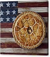 Apple Pie On Folk Art  American Flag Canvas Print