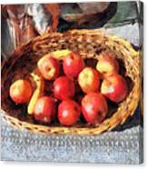 Apples And Bananas In Basket Canvas Print