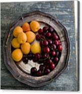 Apricots And Cherries On Silver Tray Canvas Print