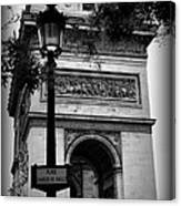 Arc De Triomphe - Black And White Canvas Print