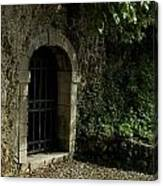 Arched Doorway With Iron Grate Canvas Print