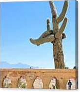 Arizona Wall With Saguaro Canvas Print