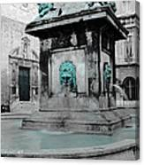 Arles Fountain With A Spot Of Color Canvas Print