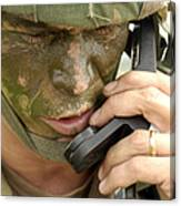 Army Master Sergeant Communicates Canvas Print