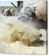 Army Soldier Pulls Himself Canvas Print