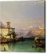 Arona And The Castle Of Angera Lake Maggiore Canvas Print