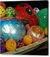 Art Glass Balls In Boat Canvas Print