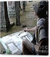 Artist At Ankor Wat Canvas Print